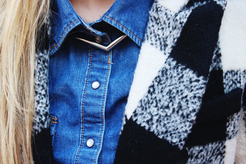 plaid coat denim shirt