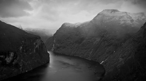 travel bw monochrome norway fjord geirangerfjord møreogromsdal