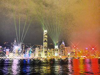 photo - Victoria Harbour Light Show, Abstract