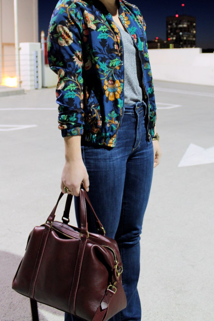 floral bomber + burgundy leather bag