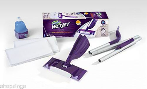 Swiffer Wetjet Spray Mop Cleaner Starter Kit Pack Set Hard