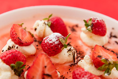 Bavarois with strawberry coulis.