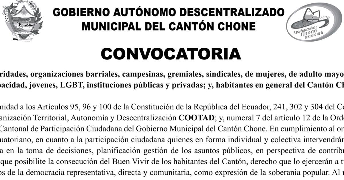 Se realizará Asamblea Cantonal