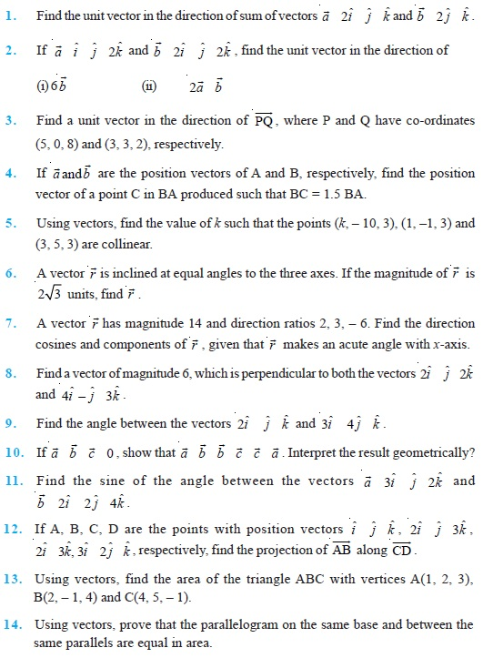 Class 12 Important Questions for Maths - Vector Algebra