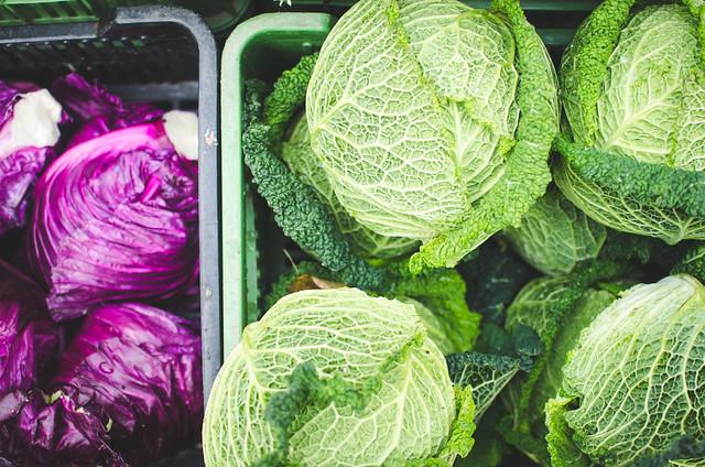 Náměstí Jiřího z Poděbrad, or Jiřák, Prague Farmer's Market is full of vibrant produce, like this colorful cabbage.