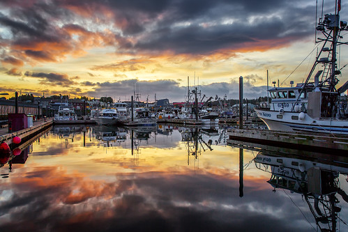 reflection alaska sunrise boats dawn harbor kodiak daybreak kodiakisland thedeadliestcatch ©gregness