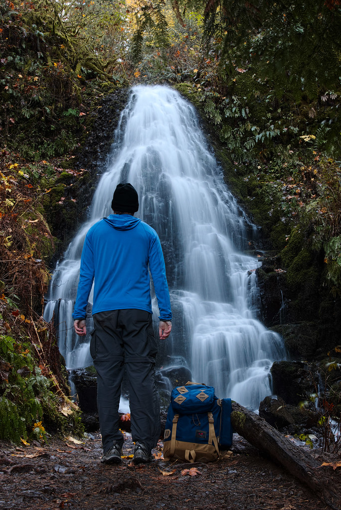 Rick Cameron stands in front of Fairy Falls, a small waterfall in the Columbia River Gorge