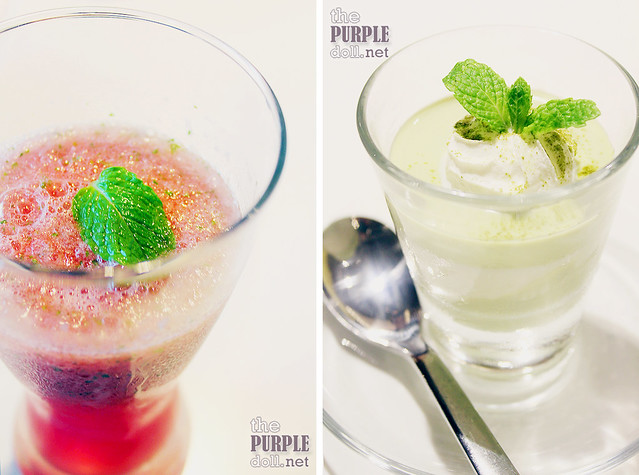 Watermelon Mint Shake (P100) and Matcha Vanilla Panna Cotta (P95)