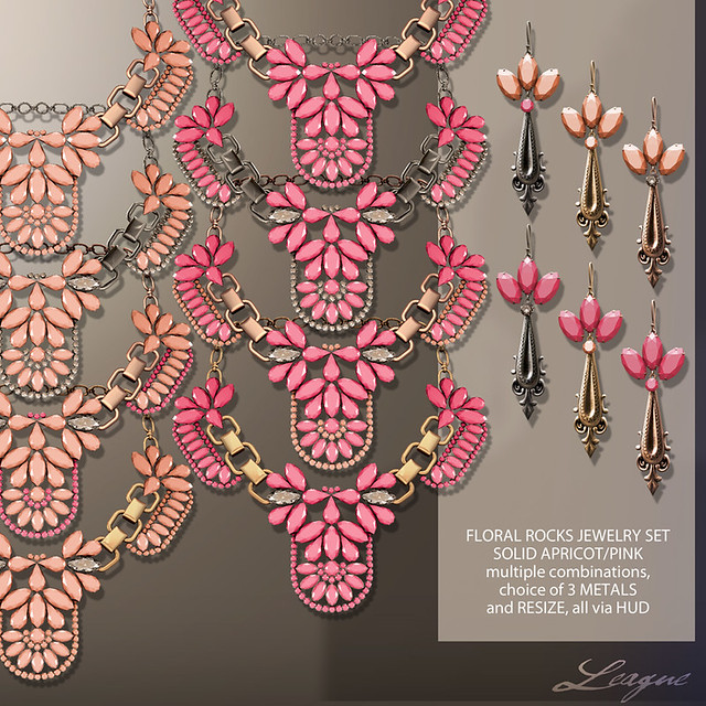 League Floral Rocks Jewelry Set Solid ApricotPink