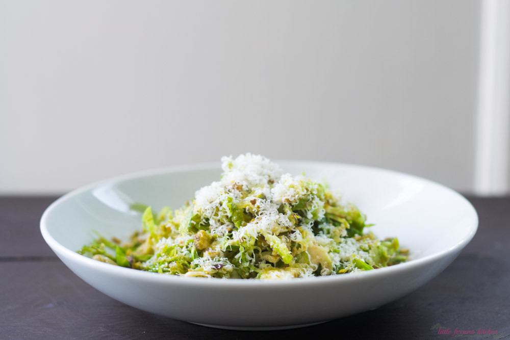 Brussel Sprout Salad with Pistachios and Pecorino via LittleFerraroKitchen.com
