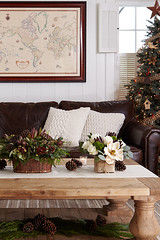 Rustic family Christmas decorations including pine cutting and cone centerpiece and sofa inbackground with world map and Christmas tree