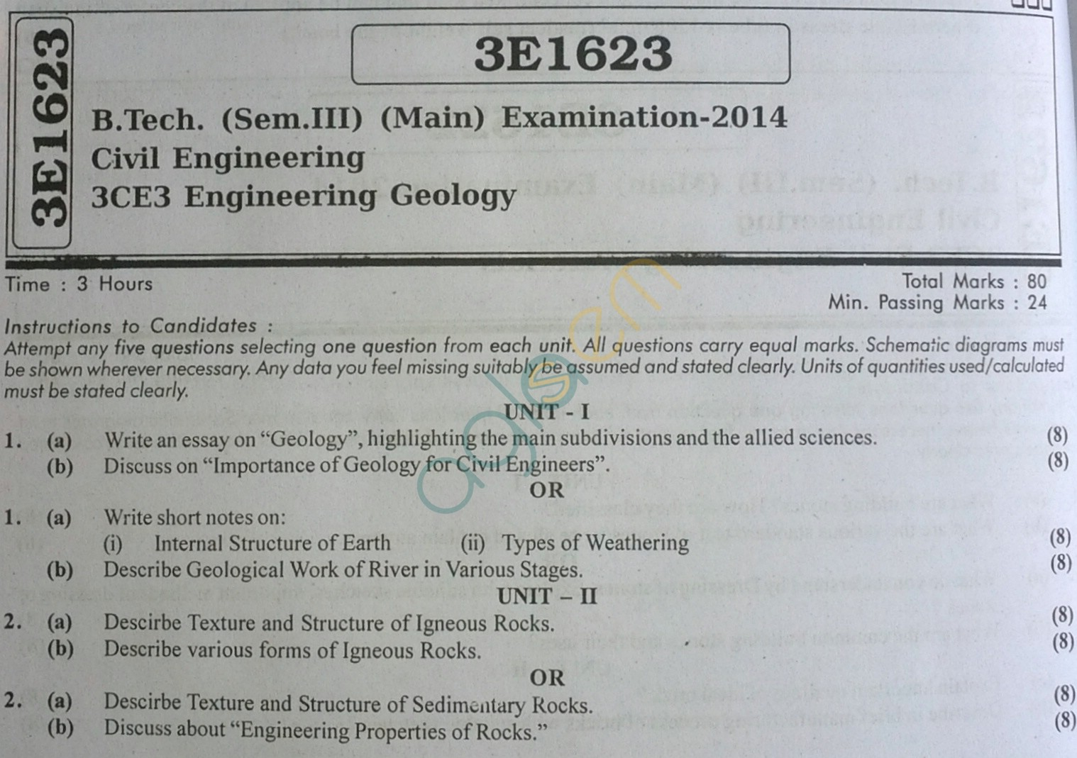 RTU: Question Papers 2014 - 3 Semester - CE - 3E1623