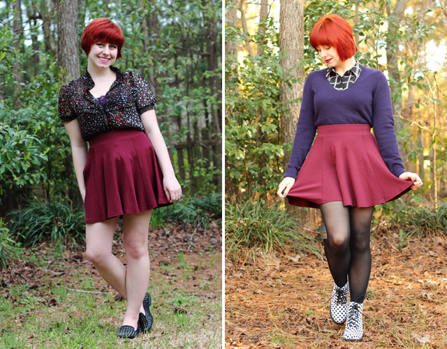 Maroon H&M Skater Skirt Worn in Summer and Winter