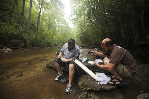 From right, biologist Jeff Humphries and field technician Michael Sisson, both with the North Carolina Wildlife Resources Commission, monitor hellbender populations in a Pisgah National Forest stream. (Copyright photo courtesy Freshwaters Illustrated/Dave Herasimtschuk)
