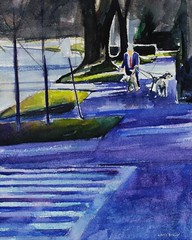 Watercolor Painting: Walking the Dogs