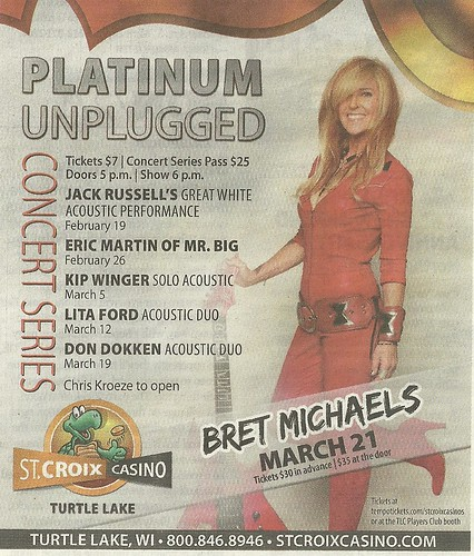 Feb-March 2015 Platinum Unplugged Concert Series @ St. Croix Casino, Turtle Lake, WI (Ad 2)