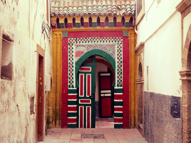 zellij tile, morocco, moorish door, colourful, essaouira, medina