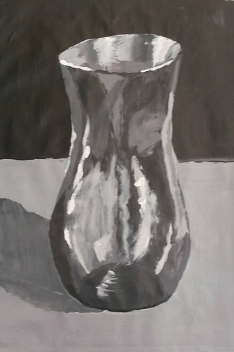 Tonal painting glass vase