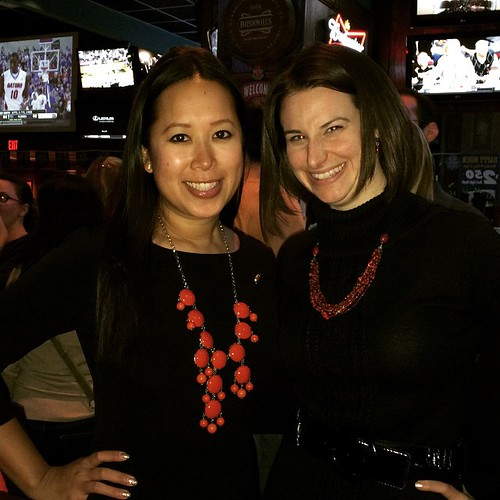 Black dress, red necklace Terps twinsies linhnguyen42