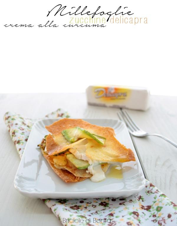 millefoglie di carasau con zucchine, formaggio cremoso con crema alla curcuma