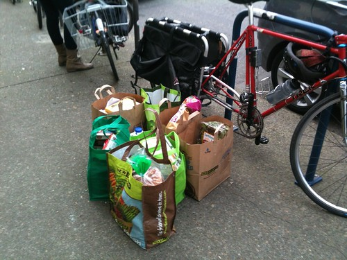 A huge pile of groceries to load onto the Trek