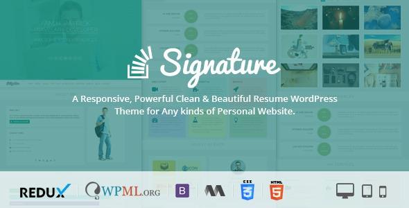 Signature v1.0.3 - Responsive CV / Resume WordPress Theme
