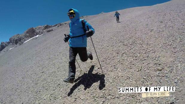 Ο Kilian σε μια γρήγορη κατάβαση από το Aconcagua στην 1η ανεπιτυχή προσπάθεια