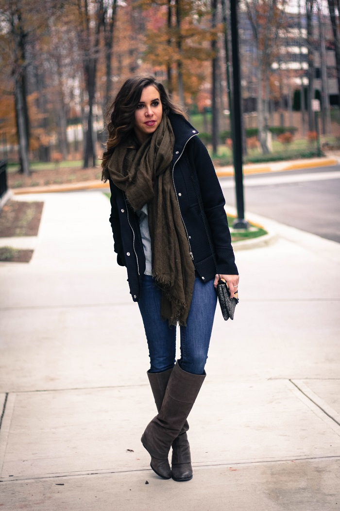 black winter jacket. green scarf. denim. knee high boots. loeffler randall calf hair bag. fall outfit. va darling. 4