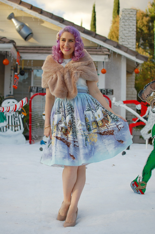 Bernie Dexter Osterley dress in Winter Wonderland print 002