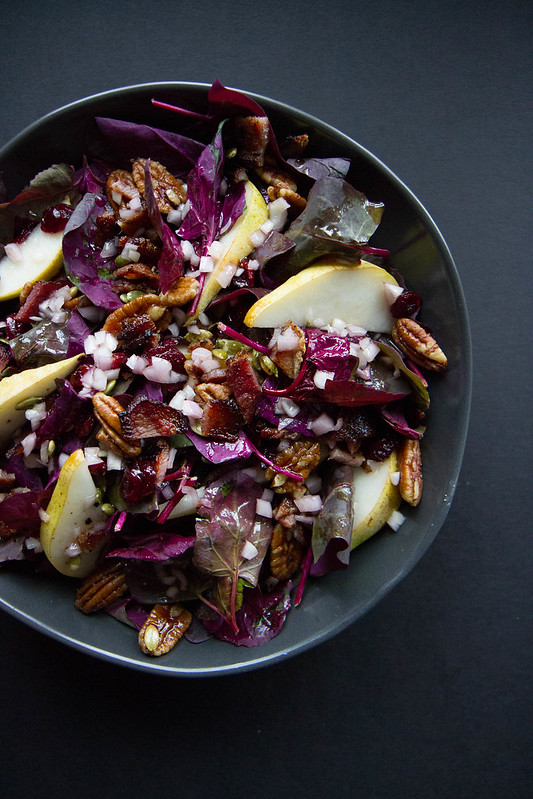 Spinach, Bacon, Pear and Candied Pecan Salad