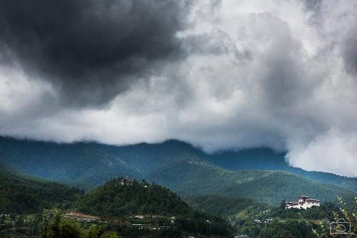 mountains landscape bhutan buddhist buddhism august monastery pines temples dzong viewpoint himalayas coniferous 2014 bumthang btn jakar lakhang