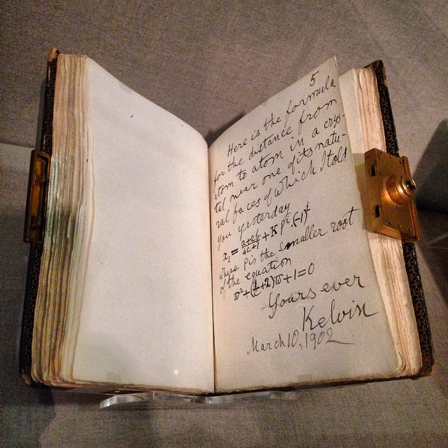 My favorite item at the current special exhibit at the @legionofhonor ? A mathematical formula written by none other than Lord Kelvin in a friend's autograph book. Though the Charlie Chaplin page was none too shabby. #latergram