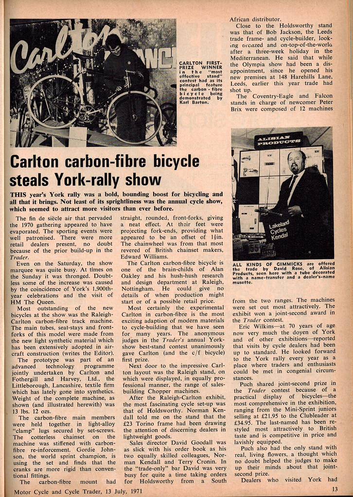 Carlton carbon-fibre bicycle steals York-rally show, 1971