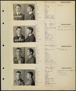 Inmate ledger, page 104: Edward Hebert, George Spencer, Alvin E. Thompson, Arthur Nelson / Registre des détenus, page 104 : Edward Hebert, George Spencer, Alvin E. Thompson, Arthur Nelson