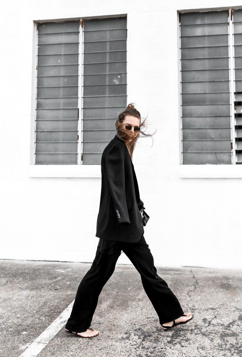 MODERN LEGACY fashion blog all black street style french effect Max Mara pants Dries van Noten blazer half up hair man bun (1 of 1)