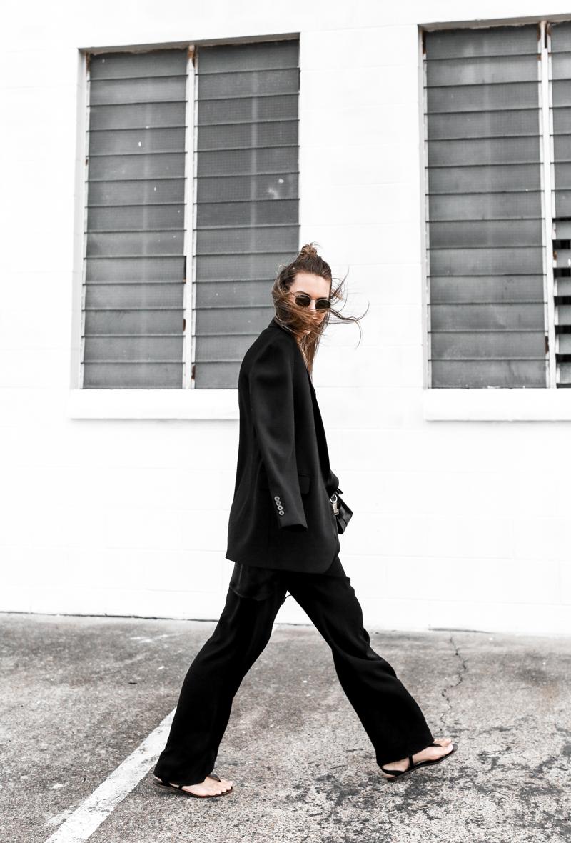 MODERN LEGACY fashion blog all black street style french effect Max Mara pants Dries van Noten blazer half up hair man bun (1 of 1)