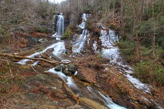 Icy Twin Falls in northern South Carolina