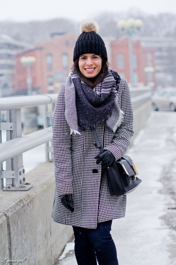 houndstooth coat, plaid scarf, pom pom hat-4.jpg