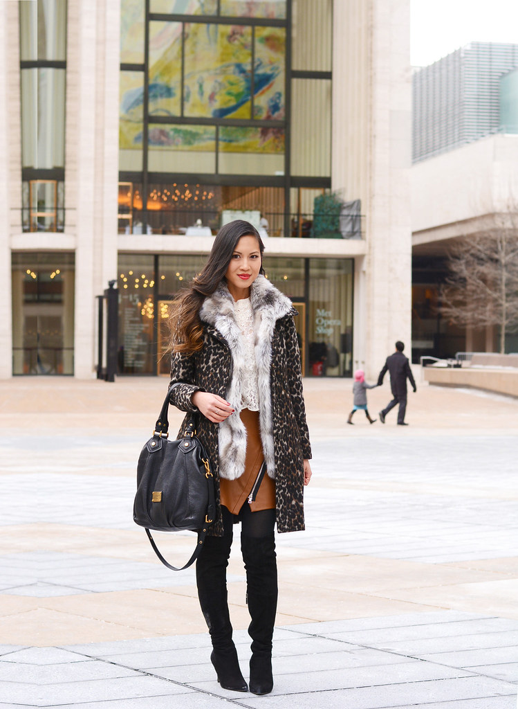 NYFW New York Fashion Week Fall/Winter 2015 street style outfit: Leopard coat, fur, lace, leather