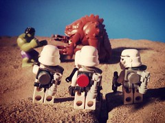 """""""I'm putting my money on that green guy."""" You're crazy, the Rancor is going to eat him alive!"""""""