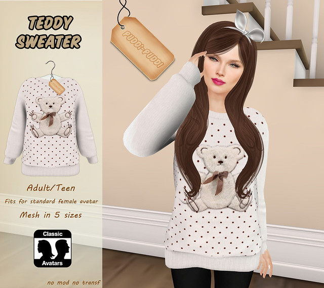 ::Puddi-Puddi:: Adult/Teen Female Teddy Sweater