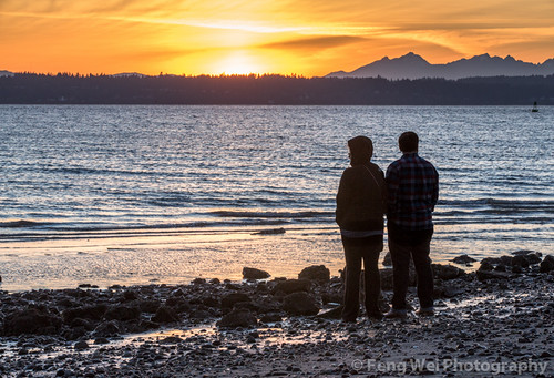 ocean seattle travel sunset two usa color beach beautiful silhouette horizontal america landscape coast washington scenery couple pacific outdoor dusk scenic peaceful pugetsound discoverypark