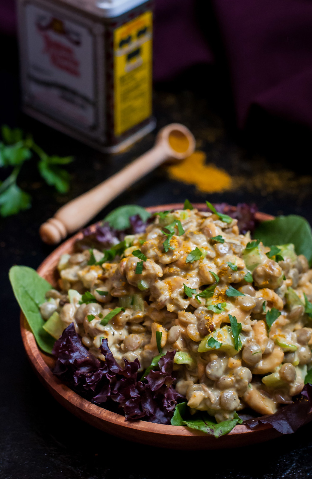Main dish curried lentil salad - 30 minutes, vegan, and gluten free