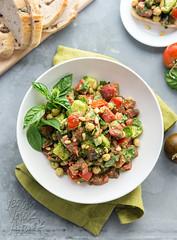 Oil-free Pesto Tomato Chickpea Salad