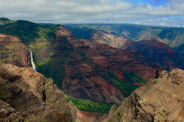 Walpoo Falls, Waimea Canyon and rainbow