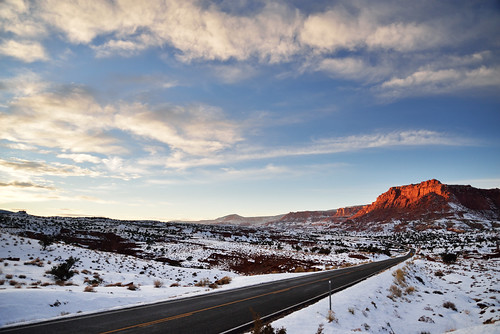 park winter light sunset red snow beautiful clouds utah rocks dusk south january scenic southern capitol national serene reef