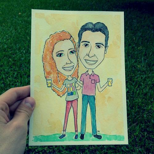 friends watercolor secret gift caricature ilustration nankim