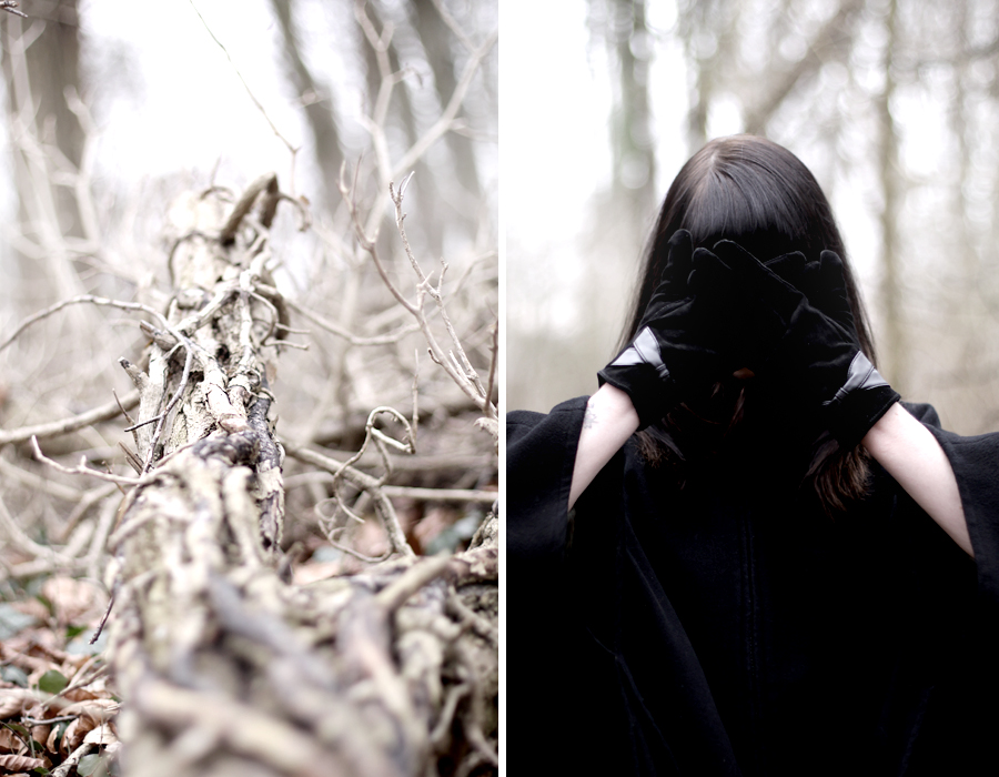 forest dark mystic scary black cape witch girl brunette bangs skinny babe winter wild wanderlust nature blog fashion fashionblog hannover germany 1