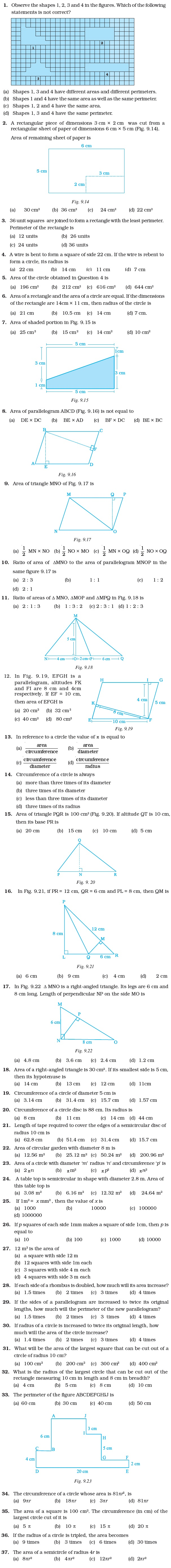 Class 7 Important Questions for Maths – Perimeter and Area