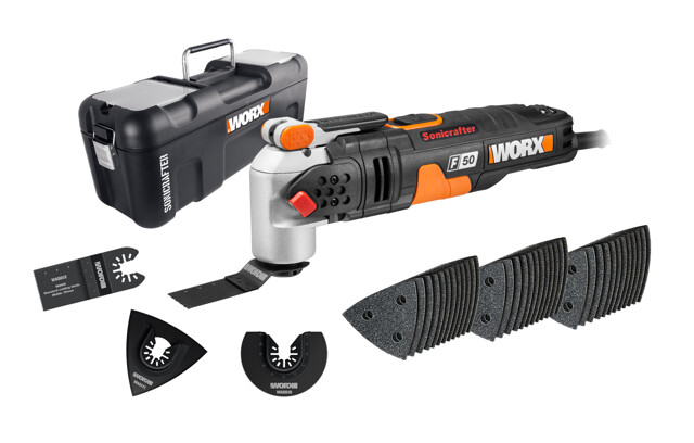 Featuring 39 accessories, the tool can be used on many surfaces
